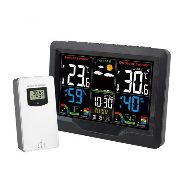 Wireless Thermometer and Humidity Monitor with LCD Color Display_0