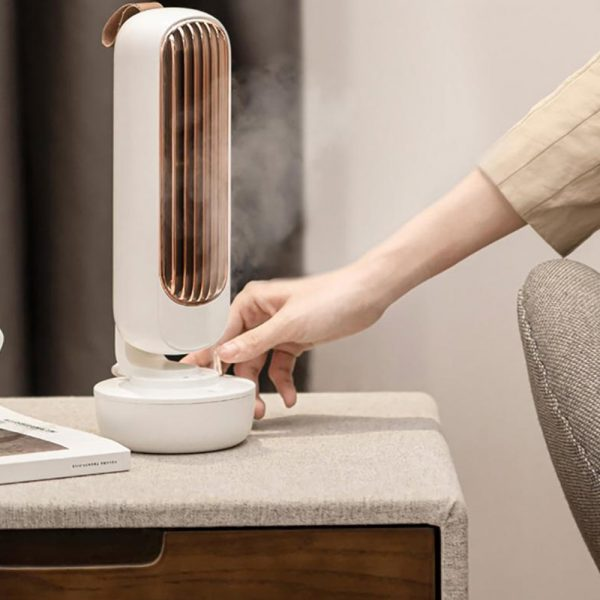 Retro Humidification Silent Wireless USB Rechargeable Tower Fan_15
