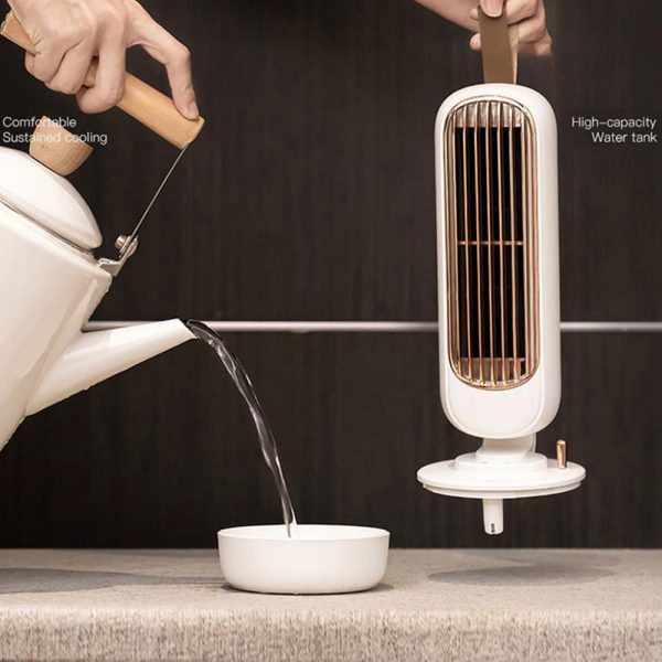 Retro Humidification Silent Wireless USB Rechargeable Tower Fan_6