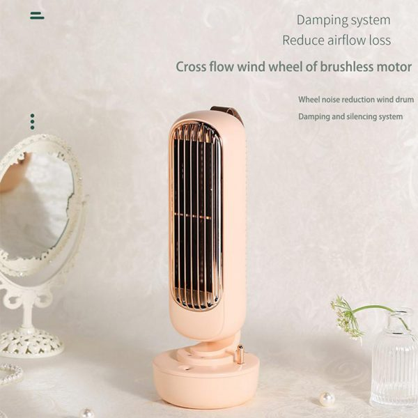 Retro Humidification Silent Wireless USB Rechargeable Tower Fan_7