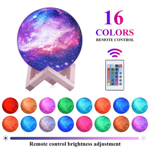 Moon Light Starry Sky Night Lamp for Children's Bedroom with Remote_0