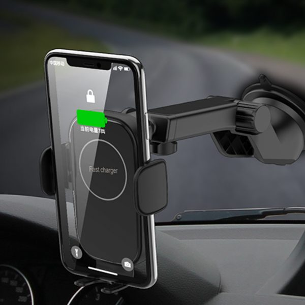 15W Fast Charging Wireless Car Phone Holder and QI Charger_2