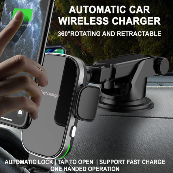 15W Fast Charging Wireless Car Phone Holder and QI Charger_3