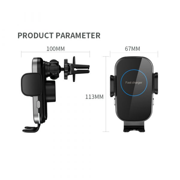 15W Fast Charging Wireless Car Phone Holder and QI Charger_12