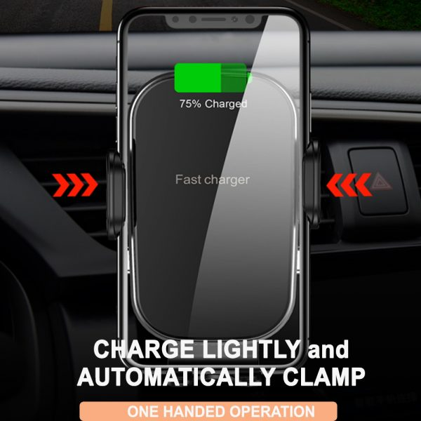 15W Fast Charging Wireless Car Phone Holder and QI Charger_4