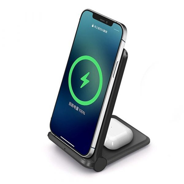 2-in-1 Foldable QI Enabled Wireless Charger Fast Charging Dock_0