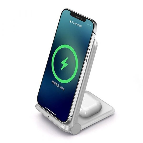 2-in-1 Foldable QI Enabled Wireless Charger Fast Charging Dock_3