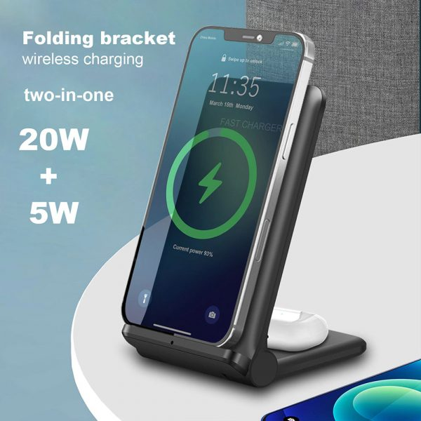 2-in-1 Foldable QI Enabled Wireless Charger Fast Charging Dock_4