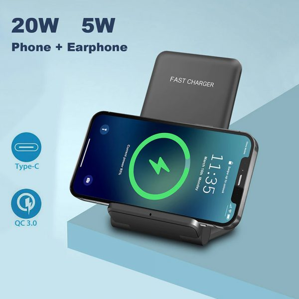 2-in-1 Foldable QI Enabled Wireless Charger Fast Charging Dock_5