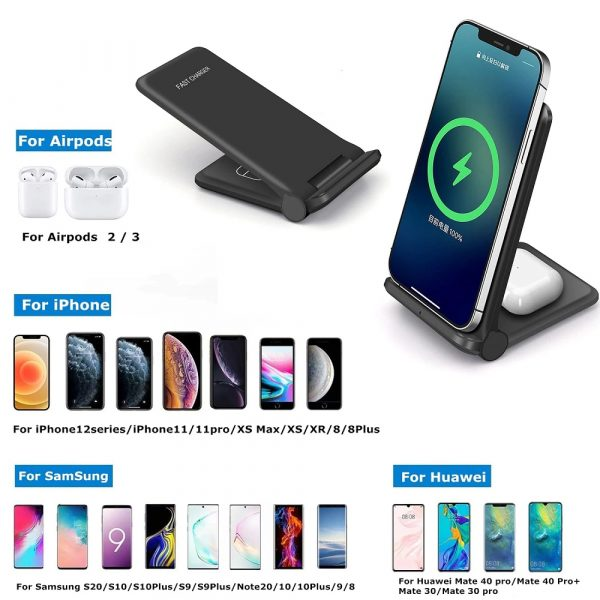 2-in-1 Foldable QI Enabled Wireless Charger Fast Charging Dock_6