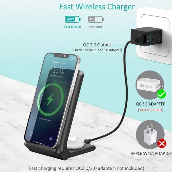 2-in-1 Foldable QI Enabled Wireless Charger Fast Charging Dock_9