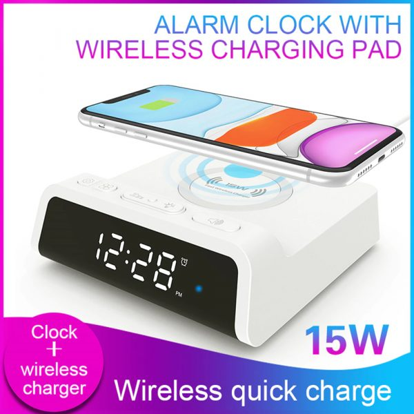 Digital Alarm Clock with Wireless Charging Pad for QI Devices_4