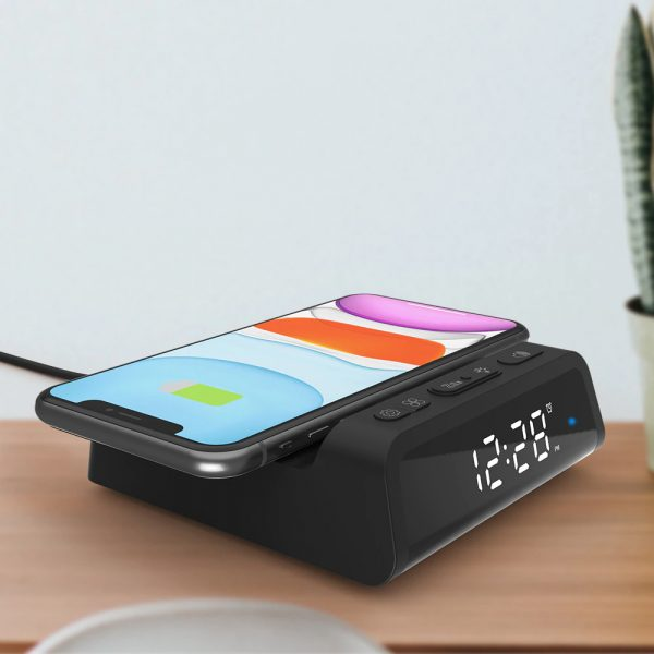 Digital Alarm Clock with Wireless Charging Pad for QI Devices_16