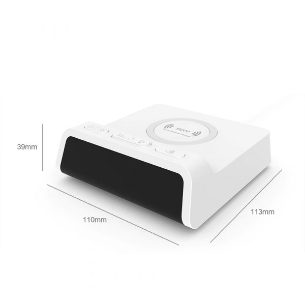 Digital Alarm Clock with Wireless Charging Pad for QI Devices_5