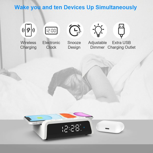 Digital Alarm Clock with Wireless Charging Pad for QI Devices_12