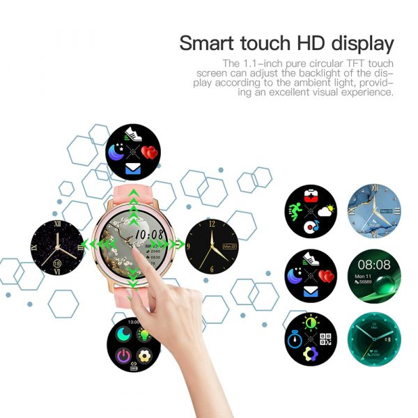 Full Touch Screen iOS Android Support Smart Watch for Women_6