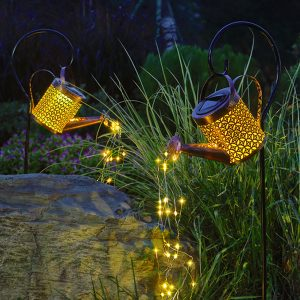 Solar Powered Watering Can LED String Light Outdoor Garden Décor