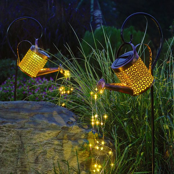 Solar Powered Watering Can LED String Light Outdoor Garden Décor_0