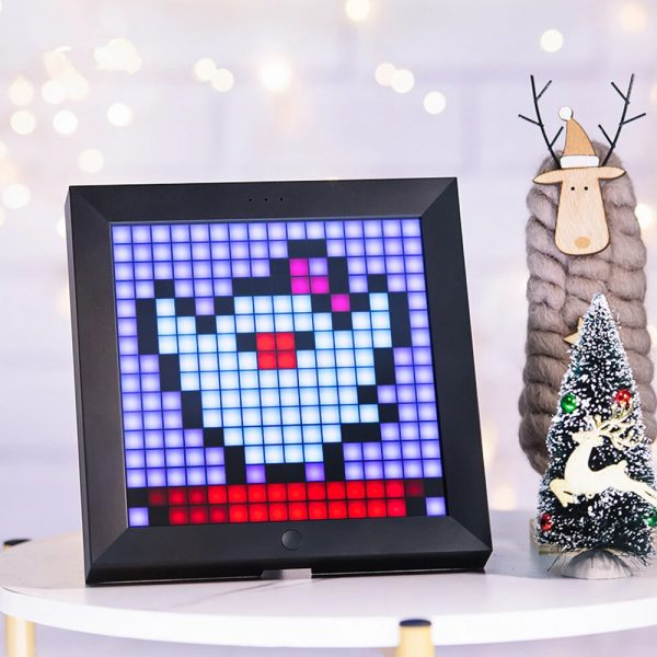 Pixel Bluetooth Photo Frame with Colorful LED Light Wall Clock_3