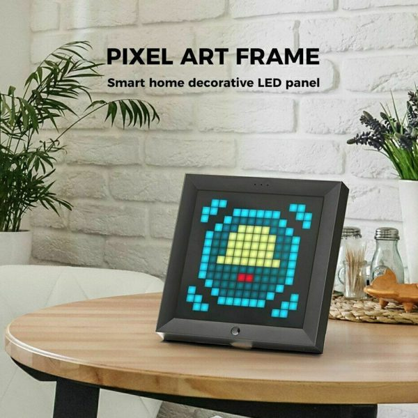 Pixel Bluetooth Photo Frame with Colorful LED Light Wall Clock_4
