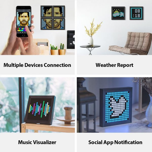 Pixel Bluetooth Photo Frame with Colorful LED Light Wall Clock_6