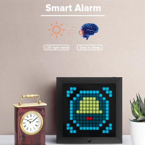 Pixel Bluetooth Photo Frame with Colorful LED Light Wall Clock_9