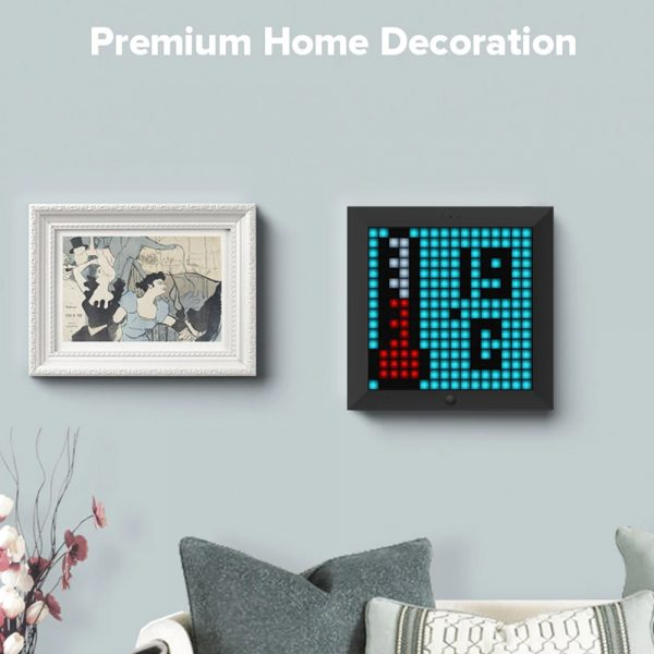 Pixel Bluetooth Photo Frame with Colorful LED Light Wall Clock_11