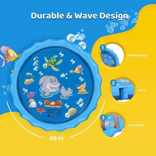 Durable Outdoor Inflatable Sprinkler Water Mat for Kids_8