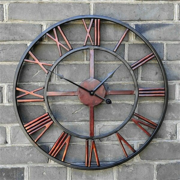 Roman Numeral Vintage Battery-Operated Antique Style Wall Clock_1