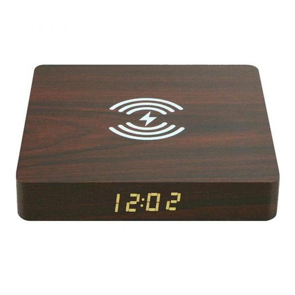 Portable Wireless Wooden Charging Pad and Digital Alarm Clock_1