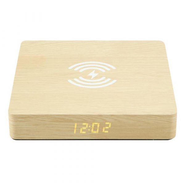 Portable Wireless Wooden Charging Pad and Digital Alarm Clock_2