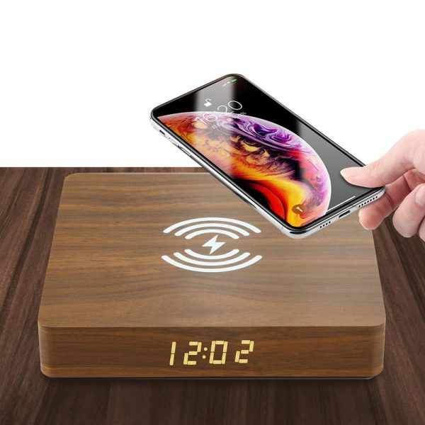 Portable Wireless Wooden Charging Pad and Digital Alarm Clock_3
