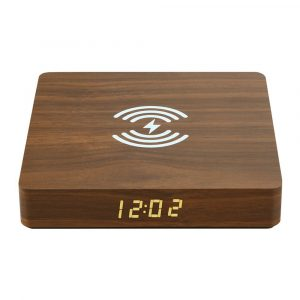 Portable Wireless Wooden Charging Pad and Digital Alarm Clock