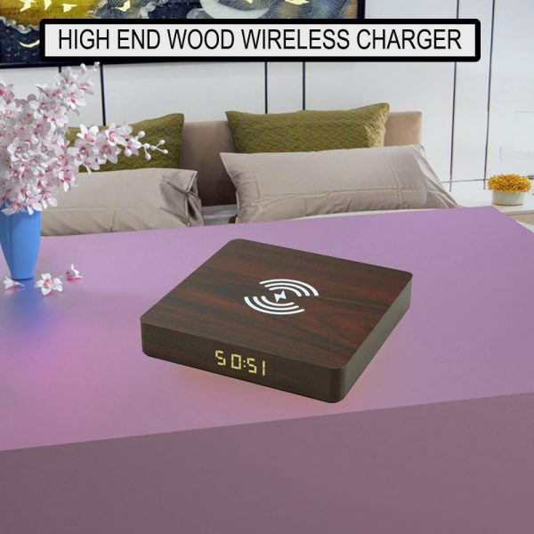 Portable Wireless Wooden Charging Pad and Digital Alarm Clock_5