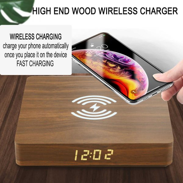 Portable Wireless Wooden Charging Pad and Digital Alarm Clock_6