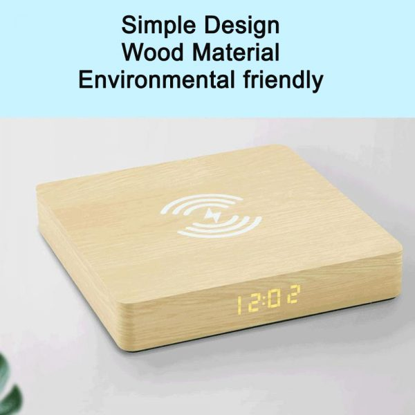 Portable Wireless Wooden Charging Pad and Digital Alarm Clock_7