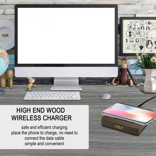Portable Wireless Wooden Charging Pad and Digital Alarm Clock_8