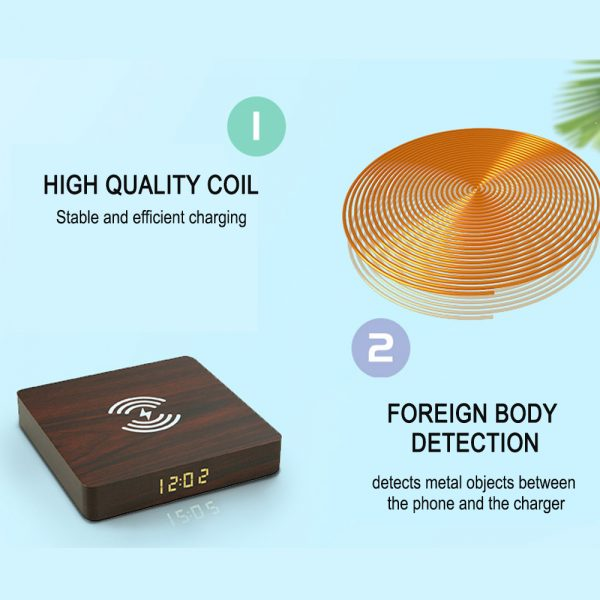 Portable Wireless Wooden Charging Pad and Digital Alarm Clock_9