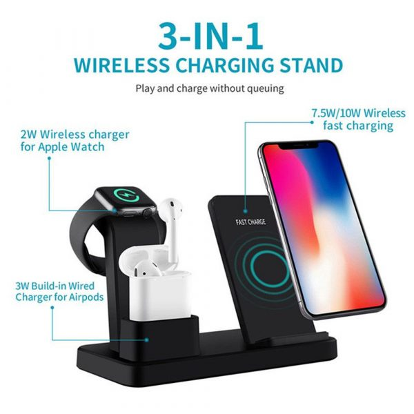 3-in-1 Fast Charging Wireless Mobile Phone Charging Station_2