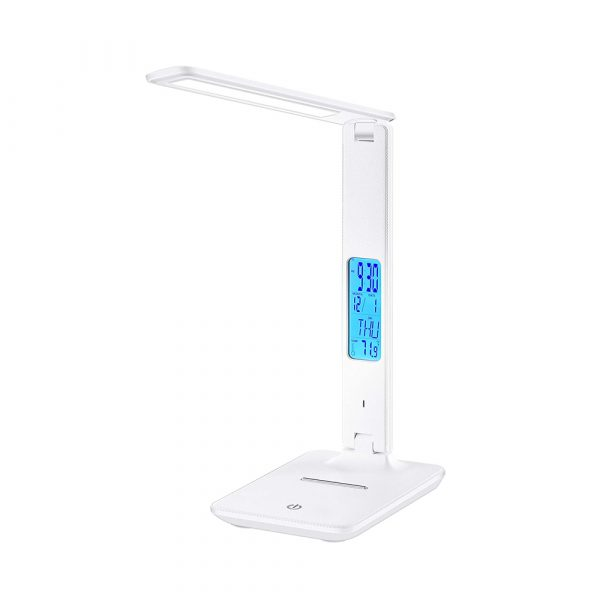Foldable and Dimmable Wireless LED Desk Lamp and Digital Clock_1