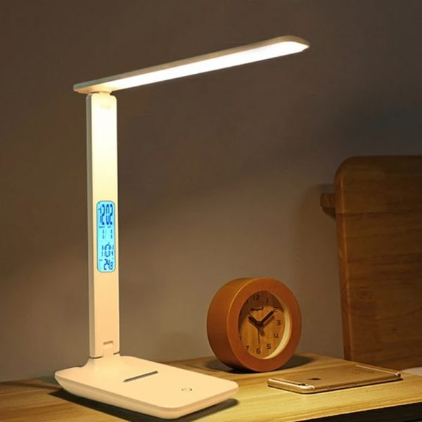 Foldable and Dimmable Wireless LED Desk Lamp and Digital Clock_2