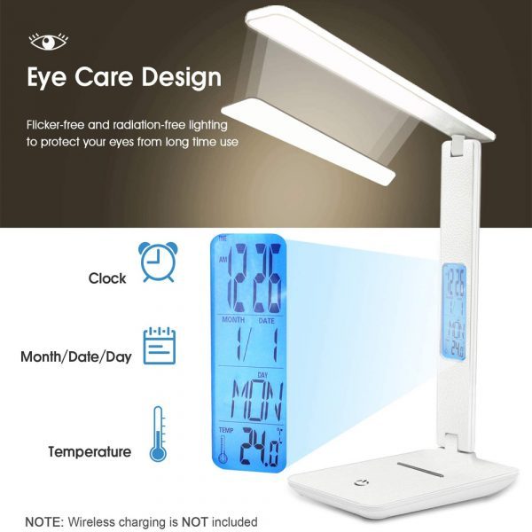 Foldable and Dimmable Wireless LED Desk Lamp and Digital Clock_5