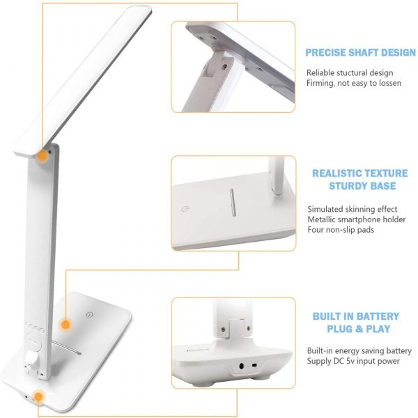 Foldable and Dimmable Wireless LED Desk Lamp and Digital Clock_9