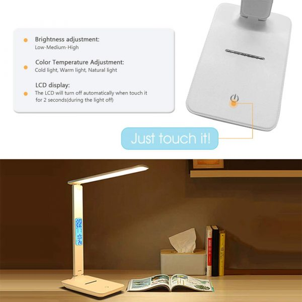 Foldable and Dimmable Wireless LED Desk Lamp and Digital Clock_10