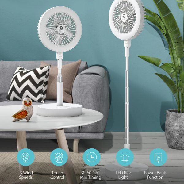 Retractable USB Charging Fan with Ring Light and Touch Panel_3