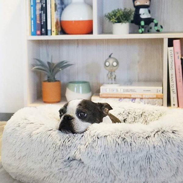 Machine Washable Calming Donut Cat and Dog Pet Bed_9
