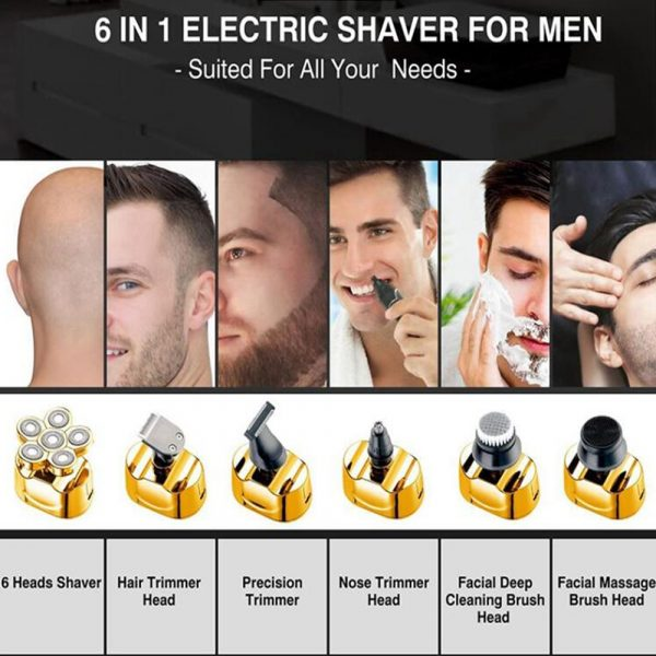 6 Blade Rechargeable Electric Hair Clipper Body Hair Shaver_6