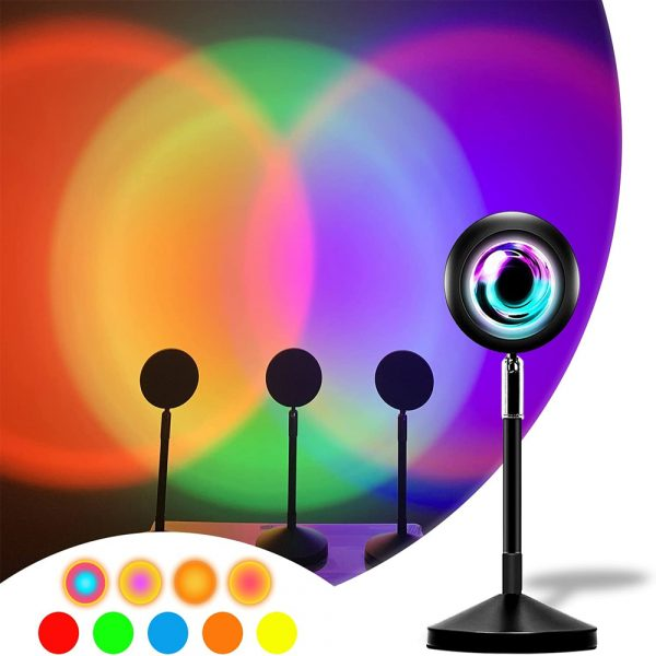 USB Plugged-in Remote Controlled 16 Colors LED Sunset Light Projector_2