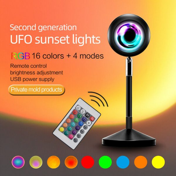 USB Plugged-in Remote Controlled 16 Colors LED Sunset Light Projector_4