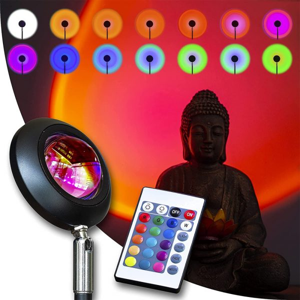 USB Plugged-in Remote Controlled 16 Colors LED Sunset Light Projector_14